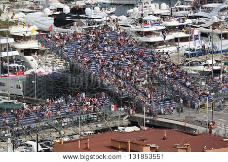 La Condamine Monaco - May 28 2016: Many Spectators in the Tribunes and People on Yachts For the Monaco Formula 1 Grand Prix 2016
