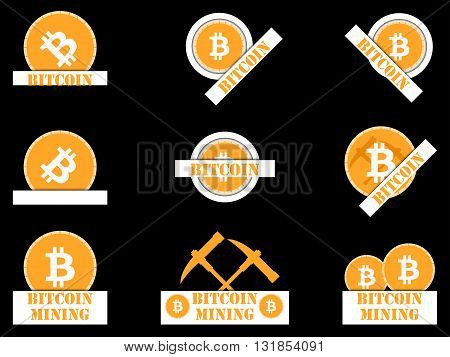 Bitcoin. Bitcoin symbol. Bitcoin mining. Logo Bitcoin with shadow. Set.