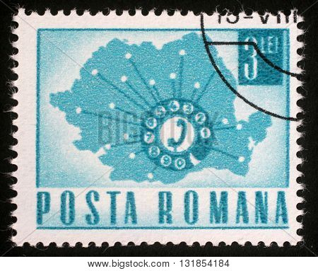 ZAGREB, CROATIA - JULY 18: A stamp printed in Romania Map Showing Telephone Network , circa 1971, on July 18, 2012, Zagreb, Croatia