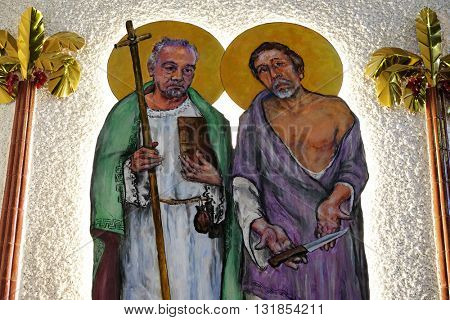 ZAGREB, CROATIA - JANUARY 31: St. Matthew and St. Bartolomew on tha altar of the church of Saint Blaise in Zagreb, Croatia on January 31, 2015