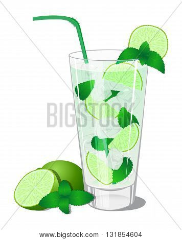 Cocktail Mojito with lime and mint in the highball on a white background