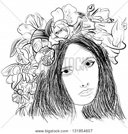 Girl wearing a wreath ink sketch. Pretty elegant girl with wreath. Vector artwork. Hand drawn portrait.
