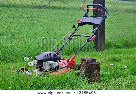 Spring mowing grass in the garden south Bohemia Czech Republic