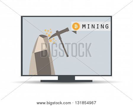Bitcoin mining. Bitcoin mining equipment. Bitcoin mining computer. Vector.