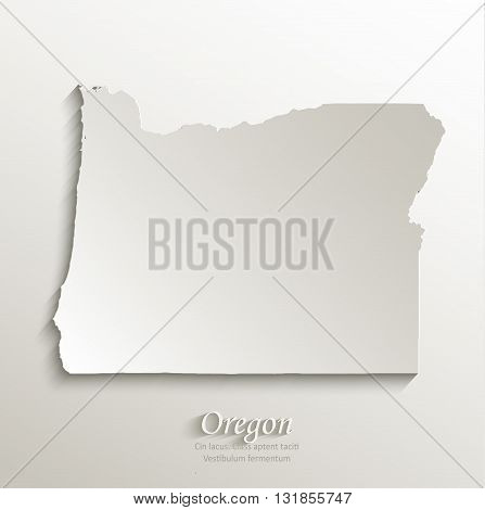 Oregon map card paper 3D natural vector
