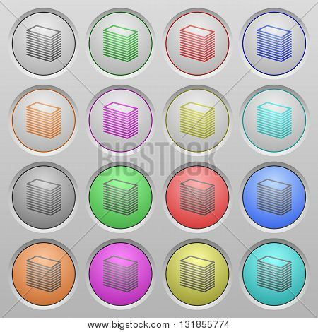 Set of paper stack plastic sunk spherical buttons.