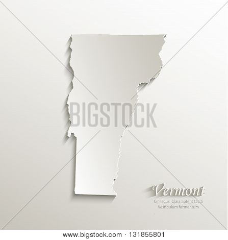Vermont map card paper 3D natural vector