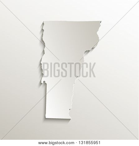 Vermont map card paper 3D natural raster