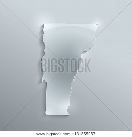 Vermont map glass card paper 3D raster