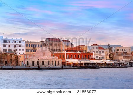 Venetian quay with Kucuk Hasan Pasha Mosque at dawn, Chania, Crete, Greece
