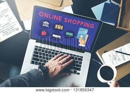 Online Shopping Marketing Commerce Spending Concept