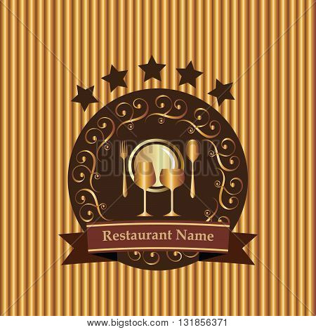Stylish restaurant menu background from modern elements.Royal gold plate, wine glasses, spoon, fork on the gold gradient and brown background. With restaurant name.  Can be repeated and scaled to any size without  loss of resolution.