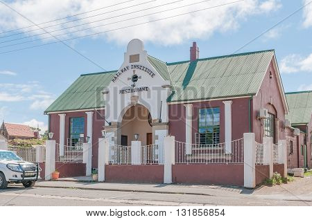 NOUPOORT SOUTH AFRICA - MARCH 8 2016: A restaurant in an historic railway building in Noupoort in the Northern Cape Karoo Region. The building dates from 1904