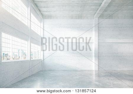 Spacious Hangar With Brick Walls