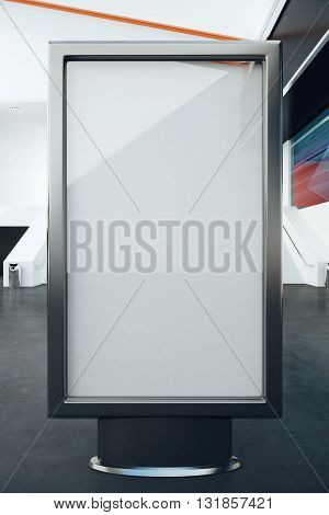 Blank glass billboard in interior. Mock up 3D Rendering