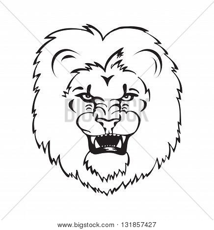 Lion roaring, lion head tattoo black and white vector illustration