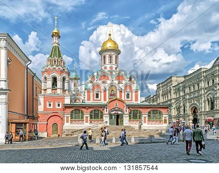 Moscow Russia - May 27 2016: Kazan Cathedral also known as the Cathedral of Our Lady of Kazan.