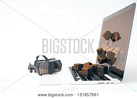 Virtual reality glasses next to laptop with square blocks falling out of screen on isolated on white background. Side view 3D Rendering