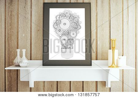 White shelf with decorative items and picture frame with abstract gear lightbulb. Idea concept 3D Rendering