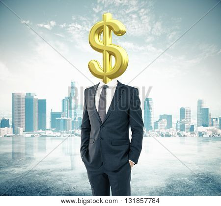 Businessman with golden dollar sign head on city background