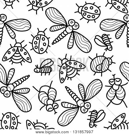 Monochrome vector seamless pattern with funny ladybugs dragonflies flies insects.