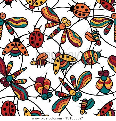 Colored vector seamless pattern with funny ladybugs dragonflies flies insects.