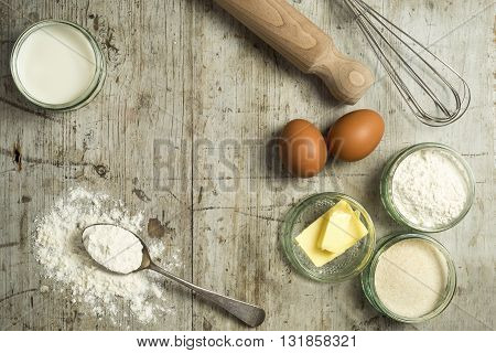 Overhead Shot Of Baking Ingredients