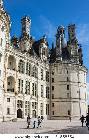 CHAMBORD FRANCE - MAY 07 2015: The royal Chateau de Chambord at Loir-et-Cher is one of the most recognizable castles in the world because of its very distinctive French Renaissance architecture