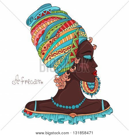 Vector painted portrait in profile of a beautiful African girl in a scarf drape with ornament on her head and a large earring. Original hand drawn inscription African. Isolated on a white background