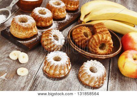 Fruit Muffins With Sugar Powder