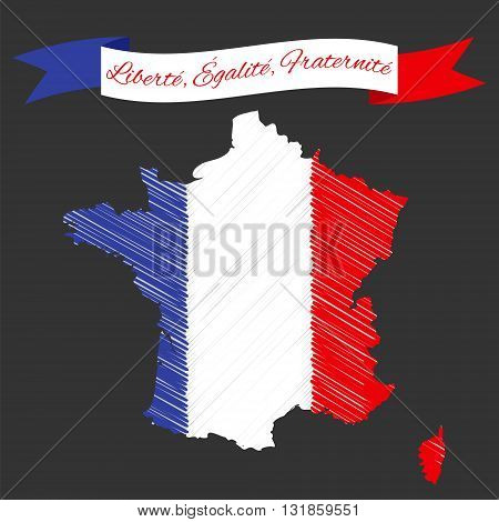 Vector Illustration for National Day of France celebrated on 14 July Bastille Day. Ribbon with text Liberty Equality Fraternity. France map in colors of national flag.