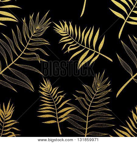 Tropical pattern, seamless palm leaves background. Gold glitter pattern with palm leaf.