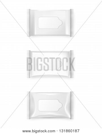 Pack of wet wipes isolated on a white background. Vector EPS10 illustration.