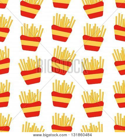 Illustration Seamless Pattern of French Fries Boxes of Takeaway. Fast Food Background - Vector