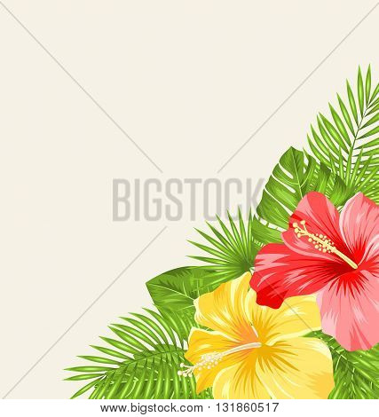 Illustration Vintage Background with Colorful Hibiscus Flowers. Copy Space for Your Text - Vector