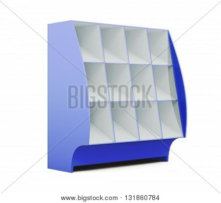 Showcase for grocery store isolated on white background. Supermarket showcase. Glassed showcase. 3d rendering