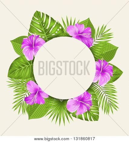 Illustration Retro Card with Purple Hibiscus Flowers and Green Tropical Leaves. Clean Invitation - Vector