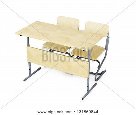 School desk and two chairs isolated on white background. 3d rendering.