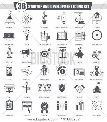 Vector Startup and development black icon set. Dark grey classic icon design for web