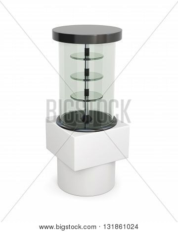 Glass showcase stand with shelves isolated on a white background. 3d rendering.