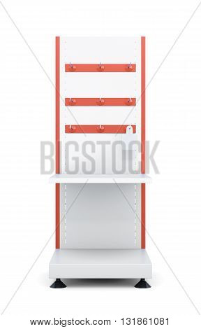Stand with shelves and hooks for product isolated on a white background. Front view. 3d rendering.