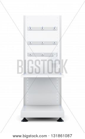 Stand with shelves and hooks for goods isolated on a white background. Front view. 3d rendering.
