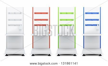 Set of rack with shelves and hooks for goods isolated on a white background. 3d rendering.