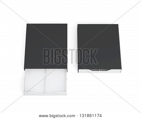 Open and closed boxes isolated on white background. White-black box. Front view. Top view. 3d rendering