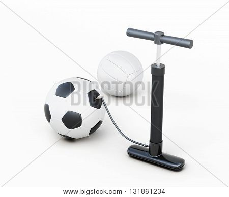 Hand pump and balls isolated on white background. 3d rendering.