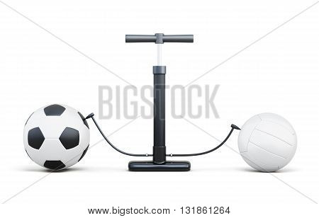 Air pump and sport balls isolated on white background. 3d rendering.