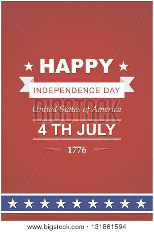 July 4th Celebration in America. United States of America. Symbol feast of stars blue and red background. Beautiful illustrations with typography poster