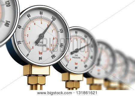 3D render illustration of the row of metal steel high pressure gauge meters or manometers with brass fittings on tubing pipeline at LNG or LPG natural gas distribution station plant or factory facility isolated on white background