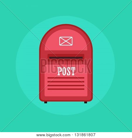 Vintage red Mail box post icon. Flat design illustration