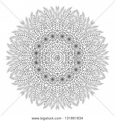 Mandala. Coloring page. Ethnicity floral round ornament. Circular ornament in ethnic style. Floral elements. Monochrome oriental pattern. Arabic Islamic Indianmotifs. Coloring Book.
